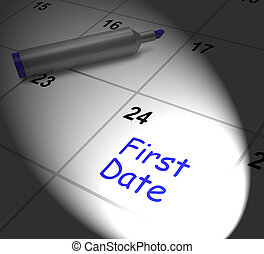 vendo, alguém, romance, monitores, data, calendário, ...