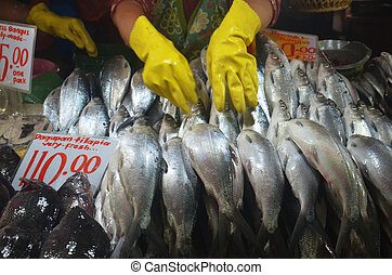 Vendor arranging her milkfish display at the market photo -...