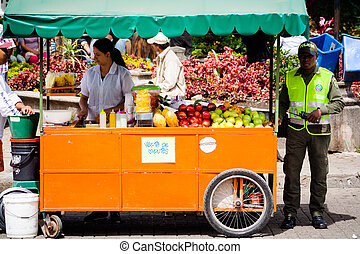 Vendor of fruit in guatape colombia