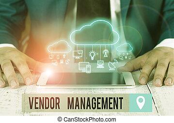 vendors., kutatás, sourcing, included, szöveg, management., kézírás, jelentés, fogalom, elfoglaltságok, eladó