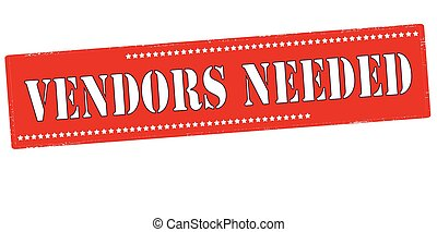Rubber stamp with text vendors needed inside, vector illustration