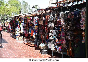 Vendors on Olvera Street in Los Angeles