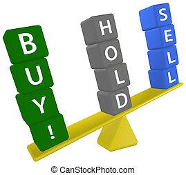 vendre, échelle, investir, décision, achat, prise, stockage