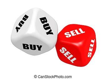 vendre, achat, dés