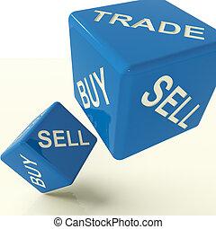 vendre, commerce, achat, dés, bleu affaires, commercer, ...