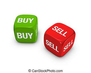 vendre, dés, achat, signe, vert, paire, rouges