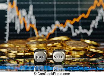 vendre, doré, pièces., cubes, graphique financier, foyer, ...