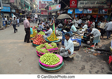 vendre, extérieur, commerçant, rue, fruits, kolkata