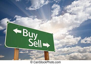 vendre, nuages, achat, contre, signe, vert, route