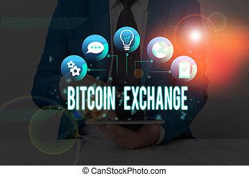 vendre, numérique, signification, bitcoin, exchange., bitcoins., écriture, achat, commerçants, marché, où, boîte, texte, concept