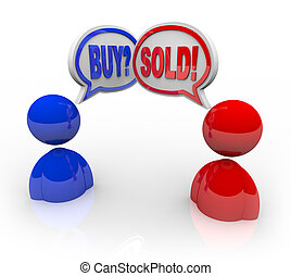vendre, symbolizing, achat, mots, affaire, gens, argent,...