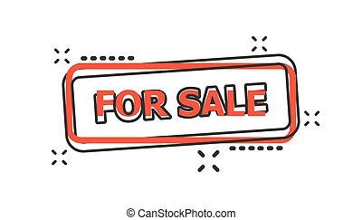 vendre, vecteur, business, timbre, concept., vente, illustration, effet, éclaboussure, pictogram., cachet, comique, signe, style., dessin animé, icône