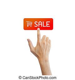 vendre, vrai, bouton, isolé, main, fond, blanc