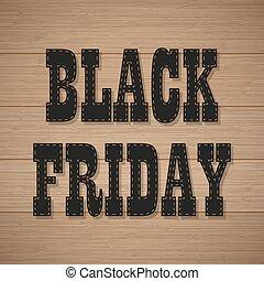 vendredi, arrière-plan noir, bois, texte, ombre