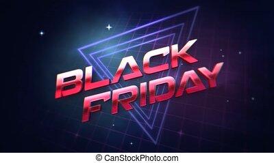 vendredi, arrière-plan noir, résumé, intro, triangles, texte, retro, animation