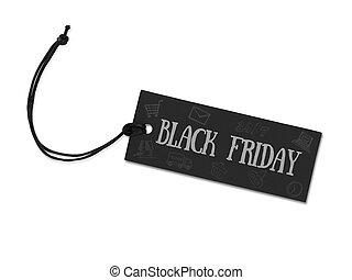 vendredi, noir, étiquette