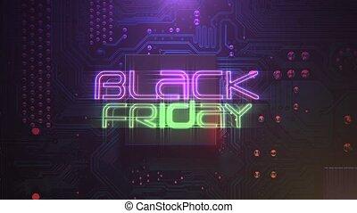 vendredi, noir, animation par ordinateur, puce, texte, néon, fond, intro, lumières, cyberpunk