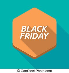 vendredi, noir, hexagone, ombre, long, texte