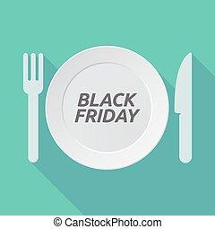 vendredi, noir, vaisselle, ombre, long, texte