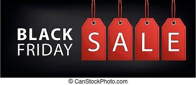 vendredi, vente, étiquette, noir, bannière, rouges