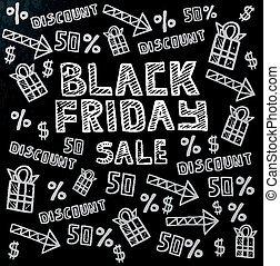 vendredi, vente, sombre, arrière-plan noir, chalkboard.