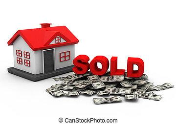 vendu, concept, maison