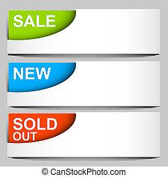 vendu, icônes, -, vente, vecteur, nouveau, coin