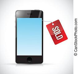 vendu, illustration, téléphone, étiquette, conception, nouveau
