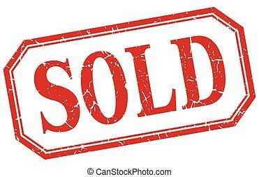 vendu, isolé, vendange, grunge, étiquette, carré rouge