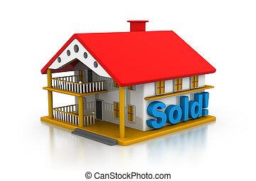 vendu, maison, 3d