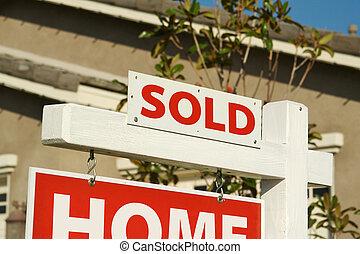 vendu, maison, signe vendre