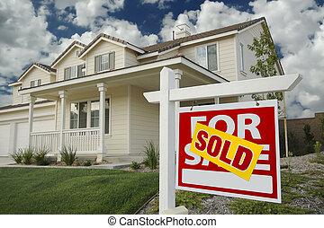 venduto, casa, segnale vendita, e, casa