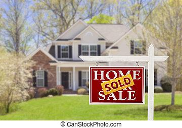 venduto, casa, vendita, segno proprietà reale, e, casa