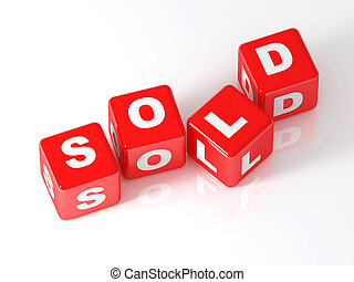 venduto, cubo, 3d