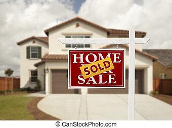 venduto, segno proprietà reale, e, casa