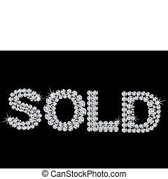 venduto, vettore, etichetta, brilliant.