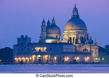 venecia, basílica, ocaso, della, saludo, vista