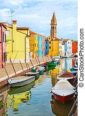 venecia, burano, color, isla, casas, barcos
