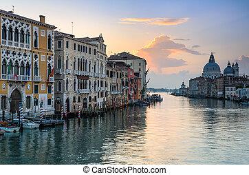 venecia, canal, salida del sol, magnífico