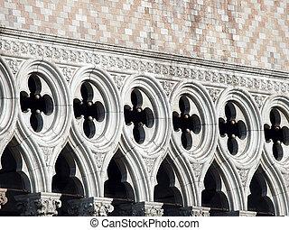 venecia, doge's, símbolo, palacio, -, tracery, uno