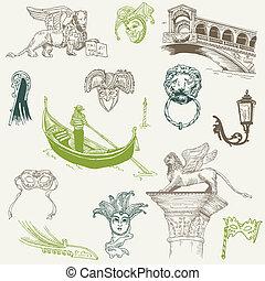 venecia, doodles, -, mano, dibujado, -, para, diseño, y, álbum de recortes, en, vector