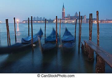venecia, en, anochecer