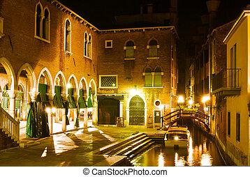 venecia, escena, noche