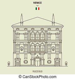 venecia, italy., señal, balbi de palazzo, icono