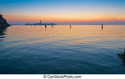 venecia, laguna, en, ocaso