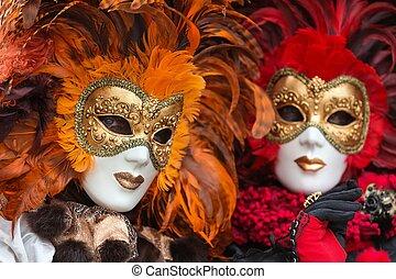 venecia, máscara, carneval, -, veneciano, disfraz