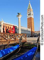 venecia, marca, -, c/, campanile, cityscape