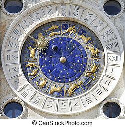 venecia, marco, san, reloj, cuadrado, zodíaco