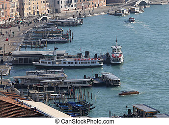 venecia, puerto, para, transbordadores, turistas, transporte