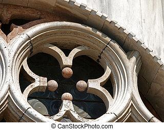 venecia, símbolo, -, tracery, veneciano, uno
